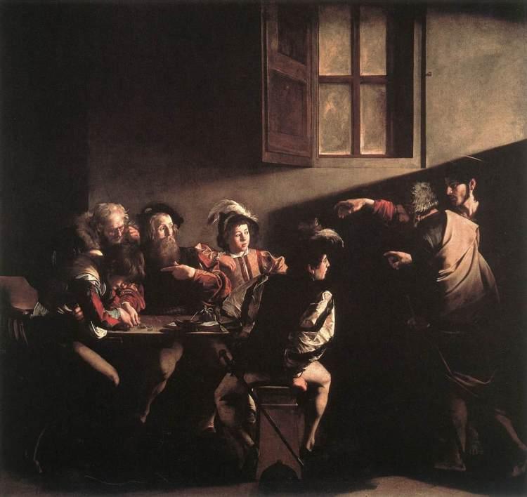 Köllun heilags Matteusar eftir Caravaggiou, máluð 1599-1600, olía á striga, 322 x 340 cm. Contarelli kapellunni, San Luigi dei Francesi, Róm