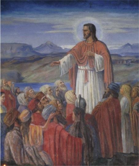 Fjallræðan, altaristafla eftir Ásgrím Jónsson í Lundarbrekkukirkju í Bárðardal.